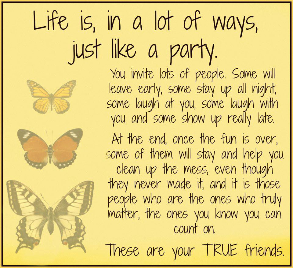 Quotes About Friends: Life Is Just Like A Party.. These Are For Your True