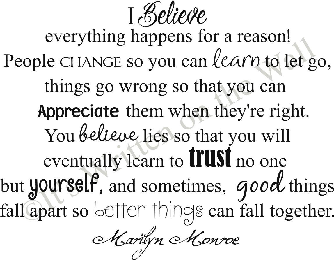 marilyn monroe quotes everything happens for a reason quotes